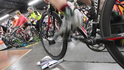 Almost 30 riders spin off the winter weather at Gung Ho Bikes in York.