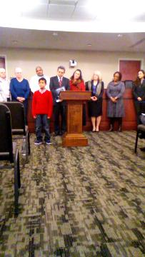 "Angello Salazar, 9, speaks about why he supports Mayor Kim Bracey's executive order declaring York City a ""welcoming city"" for immigrants."