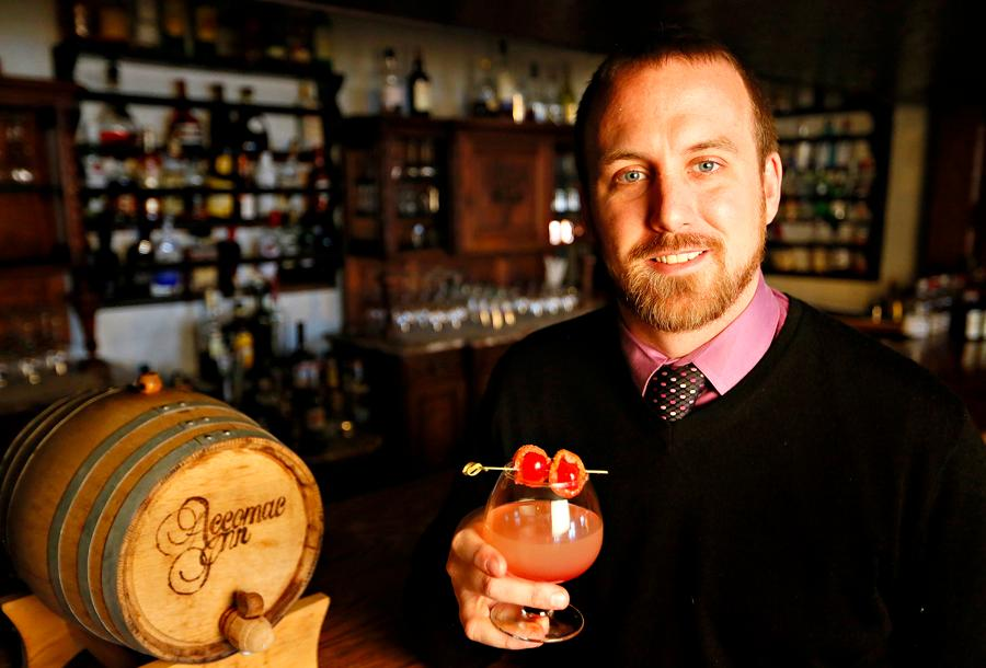 The Accomac General Manager Zach Seitz creates new signature cocktail Susquehanna Sunset at the restaurant in Hellam Township just in time for Valentines Day.