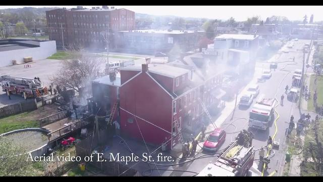 VIDEO: Aerial video of E. Maple Street fire